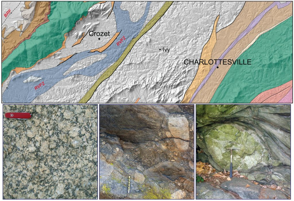 Top: simplified geologic map of central Albemarle County (Bailey & Flansburg, 2017). Bottom Left: